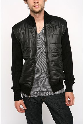 Standard Quilted Front Zip Sweater