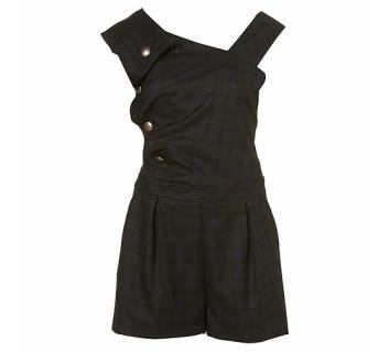 Top Shop Ruffle Check Playsuit