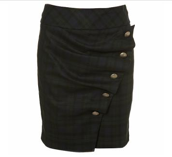 Top Shop Ruffle Chekced Pencil Skirt