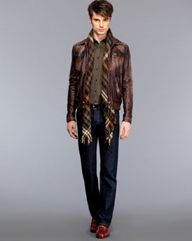 Leather bomber and Jeans NM-27M5_mf