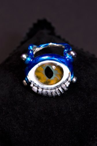 delfina delettrez eye ring, silver, glass enamel