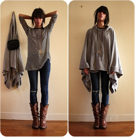 hooded poncho maje